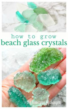 How to Grow Borax Crystals on Beach Glass - The Homespun Hydrangea Love beach glass? Check out this tutorial for How to Grow Borax Crystals on Beach Glass and see the gorgeous gems you can create! Summer Crafts, Kids Crafts, Crafts To Make, Arts And Crafts, Beach Crafts For Kids, Kids Diy, Hard Crafts, Craft Projects, Diy Projects For Kids