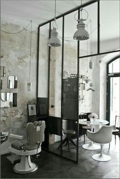 "Hairdresser ""Le discret"" - metal canopy - barber armchair - knoll armchair - brass mirror build-up. Barber Shop Interior, Barber Shop Decor, Hair Salon Interior, Salon Interior Design, Beauty Salon Decor, Beauty Salon Design, Best Barber Shop, Barbershop Design, Metal Canopy"