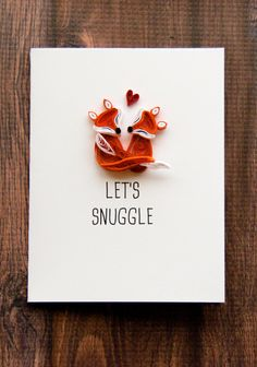 Fox Couple Cards Lets Snuggle Card Fox Cards by ofthingspretty
