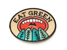 Comer verde hierro en remiendo por MokuyobiThreads en Etsy