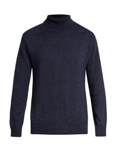 Patch-shoulder roll-neck sweater | Blue Blue Japan | MATCHESFASHION.COM