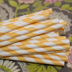 Paper Straws in Yummy Yellow for weddings, birthdays, parties and events..♥