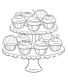 Free coloring page coloring adult cupcakes and little cakes