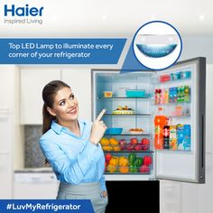 The top LED light in #Haier Glassdoor #BMR gives brighter light and saves energy at the same time giving you more view of the #refrigerator. #Refrigerators #Technology #Innovation #Lifestyle #HaierIndia #InspiredLiving