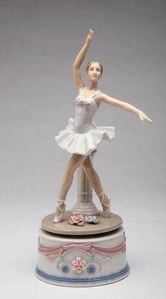 Woman Ballerina Pirouette in White Dress on Musical Box Figurine