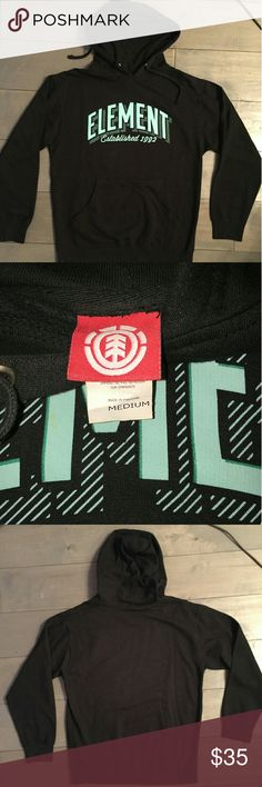 MEN'S ELEMENT BLACK PULLOVER LIKE NEW! Element men's size M black pullover hoodie sweatshirt. Aqua print. Never worn. Element Sweaters