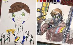Amazing dad turns son's artwork into anime characters - Imgur