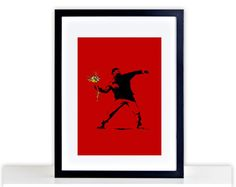 Banksy Flower Love Red Photo Picture FRAMED by PurplePrintHouse