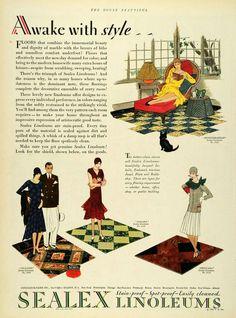 Sealex Linoleum 1929 Vintage Advertisements, Vintage Ads, Vintage Decor, Vintage Stuff, Kitchen Color Trends, Décor Antique, Print Ads, Decoration, New Day