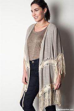 PLUS SIZE Bohemian Crochet Fringe Kimono Cardigan-Taupe Beige