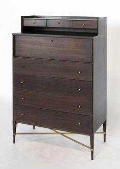 Paul McCobb; Mahogany and Brass Gentlemans Dresser for Calvin, 1950s.