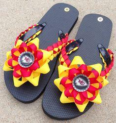 a1494a74365b2 KC Chiefs Flip Flops- Ladies M (7 to 8)