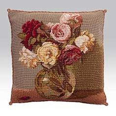Fantin la Tour Roses, pretty red, pink and cream roses in a glass vase, a needlepoint design from Kaffe Fassett
