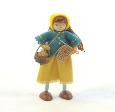 Miniature knitting doll little knitting doll small by Hobbitbags
