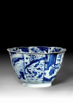 Large chinese blue and white porcelain bowl, qing dynasty, Kangxi period