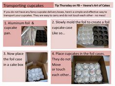 How to transport Cupcakes - you can put the foil inserts in a copy paper box lid or the strawberry boxes from a grocery store Cupcake Frosting, Cupcake Cakes, Cupcake Ideas, Cupcake Tray, Cupcake Mold, Frosting Tips, Diy Cupcake, Cupcake Decorations, Cupcake Recipes