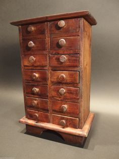 Primitive Antique Style Wood Apothecary Spice Chest Cabinet 14 Drawers