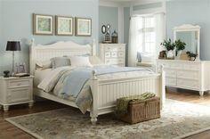 Summer Breeze Cottage 4pc Bedroom Set w/Queen Low Poster Bed