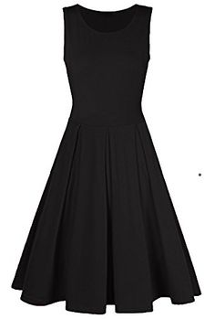 YH Women's A-line Slim Fit Zipper Casual Cotton Flare Dress Summer Beach Midi Dresses