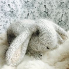 Crochet Amigurumi Rabbit Patterns Ravelry: Holland Lop Rabbit pattern by Claire Garland - This is a homage to a little grey lop-eared bunny that we used to have - she was called Nibbles and she was indeed this tiny when we brought her home… Knitting Stiches, Easy Knitting, Knitting Patterns, Knitting Ideas, Knitting Toys, Crochet Patterns, Holland Lop, Knitted Bunnies, Baby Bunnies
