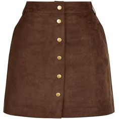 Brown Premium Suedette Popper Front Skirt (73 BRL) ❤ liked on Polyvore featuring skirts, mini skirts, bottoms, chocolate, slimming skirts, mini skirt, brown mini skirt, chocolate brown skirt and brown skirt