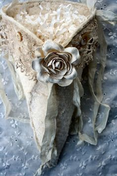Shabby White Rose Sparkle Fabric Cone--fill with flowers for pew or chair decorations.