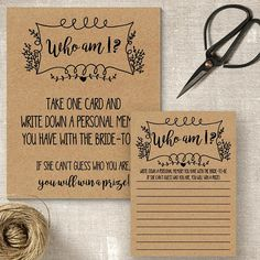 Who Am I game, printable bridal shower game, rustic shower games, party activities, Printable Bridal Shower Games, Rustic Shower, Couple Shower, Party Activities, I Am Game, Printing Services, Card Games, Design Elements, Clip Art