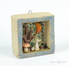 Ceramic Diorama with  the fox in strange forest /  Miniature /