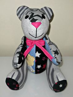 A beautiful memory bear. This one was made using an item of clothing from each family member, mum & sons comfy pyjamas and also from a very precious baby blanket ♥ www.treasured-teds.co.uk