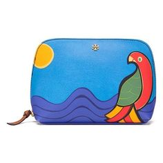 Tory Burch Kerrington Parrot Cosmetic Case (485 RON) ❤ liked on Polyvore featuring beauty products, beauty accessories, bags & cases, pattern, toiletry bag, make up purse, tory burch makeup bag, tory burch and makeup bag case