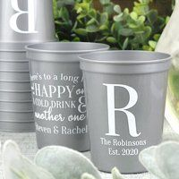 Personalized 16 Oz. plastic stadium wedding cups are useful favors for your guests to enjoy