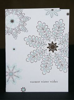 Chocolate and Blue Delicate Snowflakes