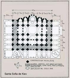 Planta de Santa Sofía de Kiev,Ucrania. (1040-1050). 5 ábsides en la parte oriental y 13 cúpulas, símbolo de Cristo y los Apóstoles. Naves exteriores sostienen una galería y a finales del S.XI se añade un ambulatorio. Se incoporan tb. torres de escalera dispuestas asimétricamente que dan acceso a la galería -Segunda Edad de Oro Bizantina -12
