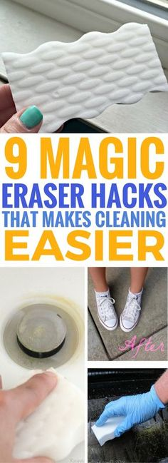 Magic eraser hacks that are seriously BRILLIANT! So many unexpected new uses to clean many things quickly! Make sure to check out the before and after hacks, they will blow your mind! Cleaning Recipes, House Cleaning Tips, Diy Cleaning Products, Cleaning Hacks, Cleaning Checklist, Clean Fridge, Organization Hacks, Organizing, Household Organization