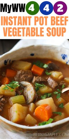 Easy weight watchers recipe, Instant pot beef vegetable soup. Green plan, purple and blue plan myWW!