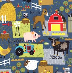 Moda  Oink A Doodle Moo All Over Farm Life by JeanMariesFabrics, $10.50