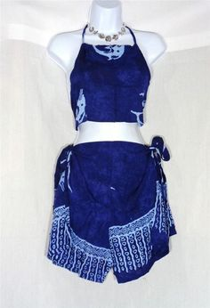 VIN & SUE FASHIONS TAHITI TIE WRAP SARONG BEACH COVER UP ROYAL BLUE DOLPHINS #Handmade #CoverUp