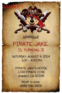 Pirate Mickey Birthday Invitation. Click on the image twice to place orders or follow me on facebook. or email me at the address in BIO.