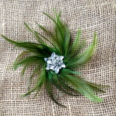 Green Feather Fascinator Hair Accessory New Year's Eve Rhinestone Costume Jewelry Wedding Hair Piece on Etsy