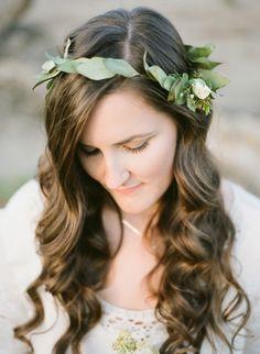 Bride with leaf flower crown