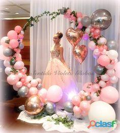 16th Birthday Cake For Girls, Sweet 16 Birthday Cake, Wedding Balloon Decorations, Birthday Balloon Decorations, Wedding Balloons, Birthday Parties, Baloon Decor, Purple Balloons, Round Balloons
