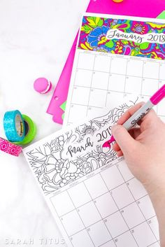 Free Printable 2018 Coloring Calendars - Completely editable online!!! Use them for menu planning, homeschooling, blogging, or just to organize your life.