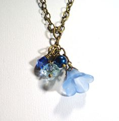 Jewelry  Necklace Blue Lucite Petunia Flowers by SpiritCatDesigns