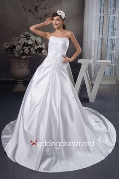 Cheap Delicate Strapless Chapel Pick-up Beaded Wedding Dress - Shop Online for Beautiful Cocktail Dresses