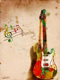 My Guitar can *SING* is an award winning digital watercolor painting by Nikki…