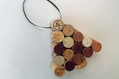 Wine Cork Tree Ornament  recycled  corks  holiday by TheWoodenBee
