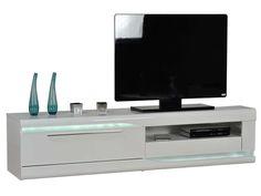 Banc TV Finition Laqué OVIO Colors Blanc Laqué Pas Cher   Meuble TV  Conforama