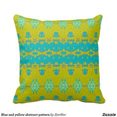 Blue and yellow abstract pattern throw pillows