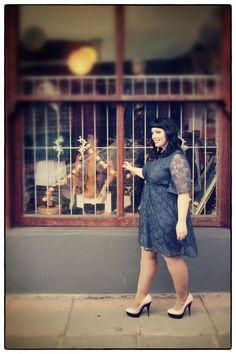 Lace tea dress by Isabel de Villiers on plus-size fashion blog mindthecurves.com.