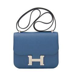 9f395faf1d Constance Verso Epsom Mini 18cm Palladium Hardware Blue Agate Leather  Shoulder Bag